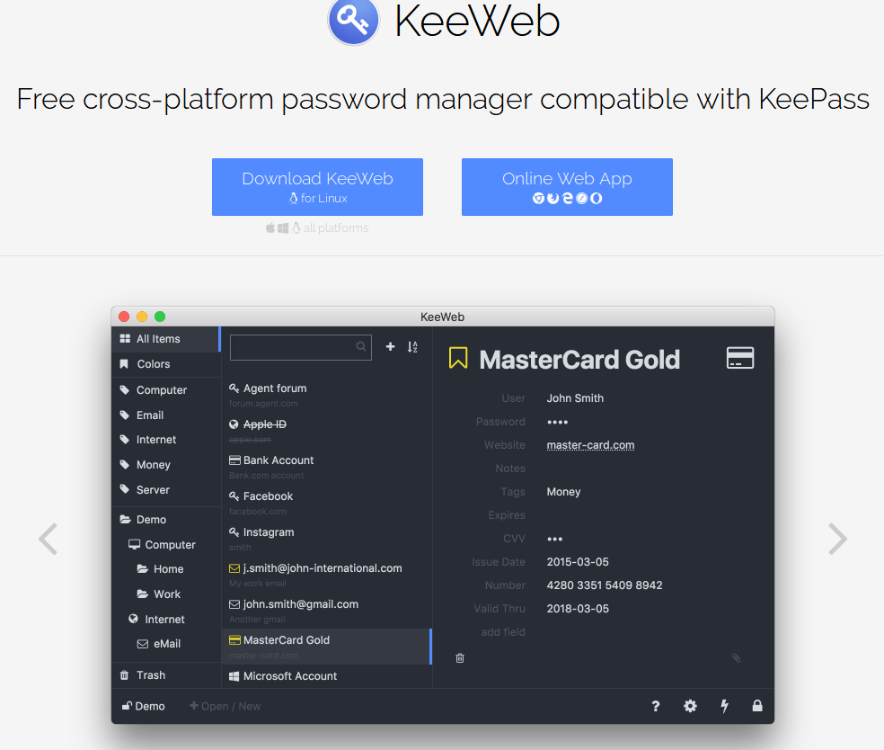 KeeWeb per gestire le password da web e app